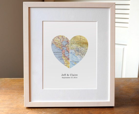 Gift For Couple Heart Map Wedding Gift Anniversary By