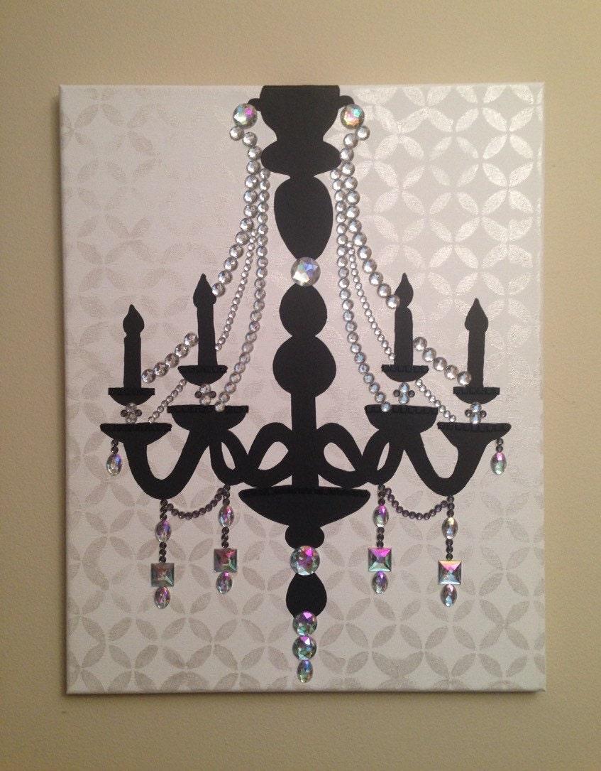 Chandelier 16x20 Acrylic on Canvas Pop Art Black by