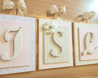 Nursery letters, Pink and Cream Nursery, Baby Girl Nursery Ideas, Girl Wall Letters, Glenna Jean Nursery, Beautiful Letters for Nursery,