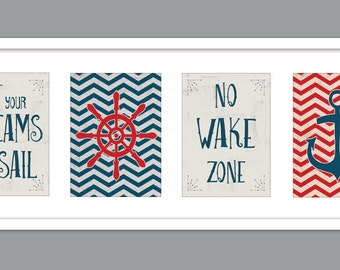 Set of 4 - 5x7 Nautical Chevron Vintage Prints/ Nautical Nursery /Sailboat/ Anchor/ Wheel/No Wake Zone/Let Your Dreams Set Sail-5x7s