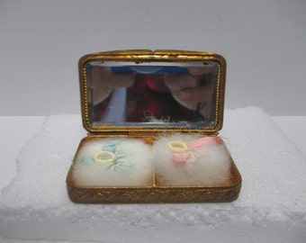 Antique French Champleve Gilt on Bronze w/Poly chrome Floral Motif Lady's Compact.