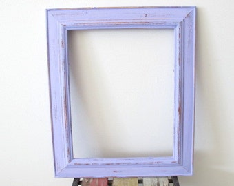 Rustic Photo Frame, Distressed Frame, Wooden Picture Frame, Purple 8x10 Photo Frame Shabby chic frame, Wedding frame, Beach decor