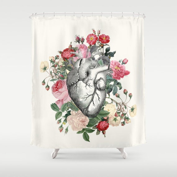 Floral Heart Shower Curtain Rose For Her Heart