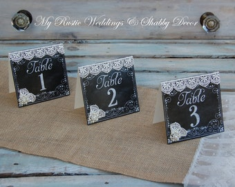 Rustic Table Numbers / Shabby Chic Table Numbers / Rustic Chic Table Numbers/ Rustic Wedding Decor/ Shabby Chic Wedding Decor/ Table Number
