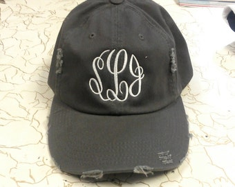 Distressed monogram baseball cap