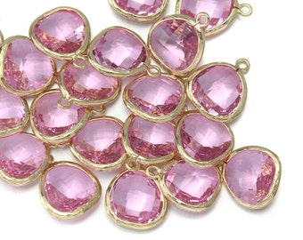 10% OFF (10 Pieces) . Pink Glass Pendant .  Wholesale Jewelry Supply . 16K Polished Gold Plated over Brass - AG001-PG-Pk