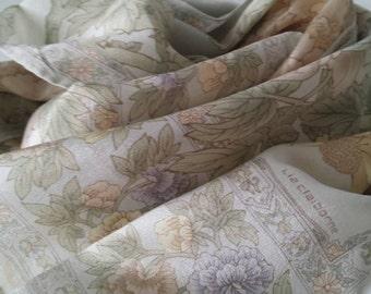 Vintage Signed Liz Claiborne Designer Rectangular Silk Scarf Floral Lavender, Ivory, Green FREE SHIPPING