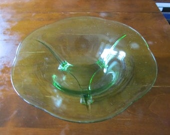 Beautiful Art Deco Vaseline Glass Large Footed Bowl