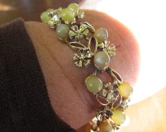 Vintage Mid Century Floral Metal Bracelet