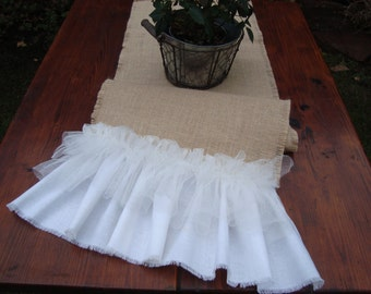 Burlap Table Runner with Ruffles Rustic Wedding Burlap Table Runner