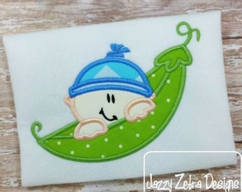 Boy Pea Pod Applique Design