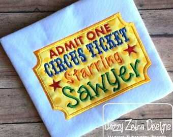Circus Ticket Applique Design