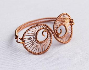 Bohemian Bracelet, Wire Wrapped Copper, Bohemian Jewelry, Gypsy Bracelet