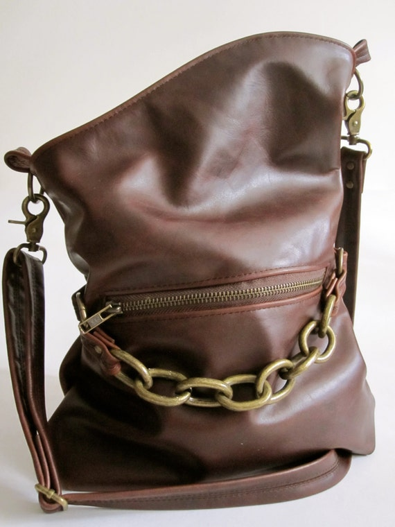 Brown Leather Cross Body Bag with Brass Hardware