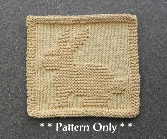 BUNNY RABBIT Knit Dishcloth Pattern PDF Instant Download