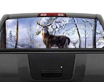 Elk Buck Deer Rear Window Graphic Decal Perforated - Rear window hunting decals for trucks