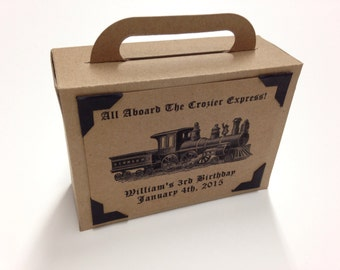 Suitcase Favor Box Suitcase Favor Train Suitcase Birthday Favor Large Suitcase Favor Box Vintage Train Favor Box Large Kraft
