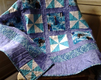 Frozen Quilt Frozen Forever Sisters Quilt Handmade using Frozen themed fabric Elsa Anna Sven Fabric Blue Purple and White Embroidered Quilt
