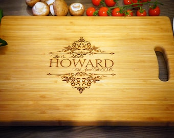 Personalised Cutting Chopping Board Wedding Gift Vintage Style Design