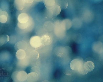 Sparkle Lights, Bokeh, Abstract Photography, Twilight Sparkle, Blue, Bokeh Canvas Art, Home Decor, Romantic Wall Art