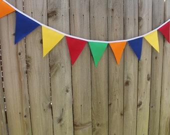 Carnival Bunting Banner, Carnival Birthday Banner, Carnival Fabric Flags, Colorful Banner, Carnival Birthday Decoration