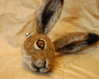 Hare Brooch - Needle felted badge