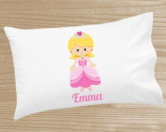 Personalized Kids' Pillowcase - Princess Pillowcase for Girls - Pink Princess Pillow Case - Custom Princess Pillow Slip