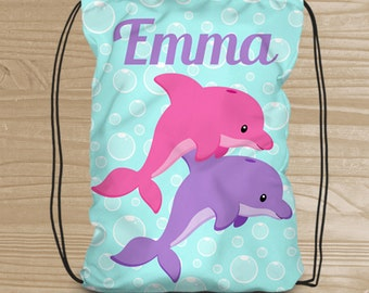 Personalized Dolphin Drawstring Backpack - Beach Backpack for Girls - Kids' Beach Fabric Bag with Dolphins - Swim Drawstring Backpack