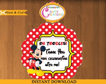 INSTANT DOWNLOAD - Mickey Mouse Stickers - Gift Tags -Treat Bag Label-2.25' Printable Birthday Party Thank You Gift Tag- CraftyCreationsUAE
