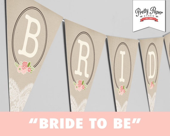 Diy Wedding Word Banners: Rustic Lace Bridal Shower // INSTANT