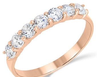 14K Solid Rose Gold CZ Cubic Zirconia Anniversary Ring Band