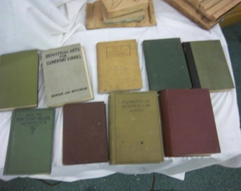FREE SHIPPING -lot of 9 old one room school books arithmatic geology vintage antique