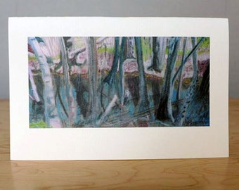 In The Woods Giclee Print of Colored Pencil Drawing.