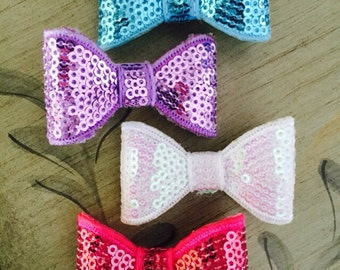 """Set of Four 2"""" Sequins Hair Clips, MANY COLORS To Choose, Adorable Sequins Hair Clips, Alligator Clips, Baby Hair Clips"""