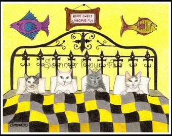 Kitties all snuggled in bed, a whimsical card or print portrait, Cats, Drawing with Watercolor accents, Item #0039a