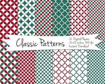 Digital Christmas Paper // Chrismas Card Paper // Quatrefoil Christmas Paper // Christmas Polka Dot Paper