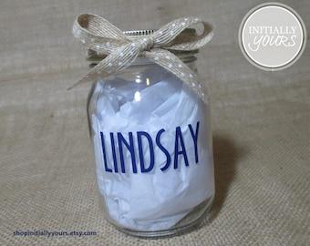 Personalized Mason Jar, Custom Name Glass Jar