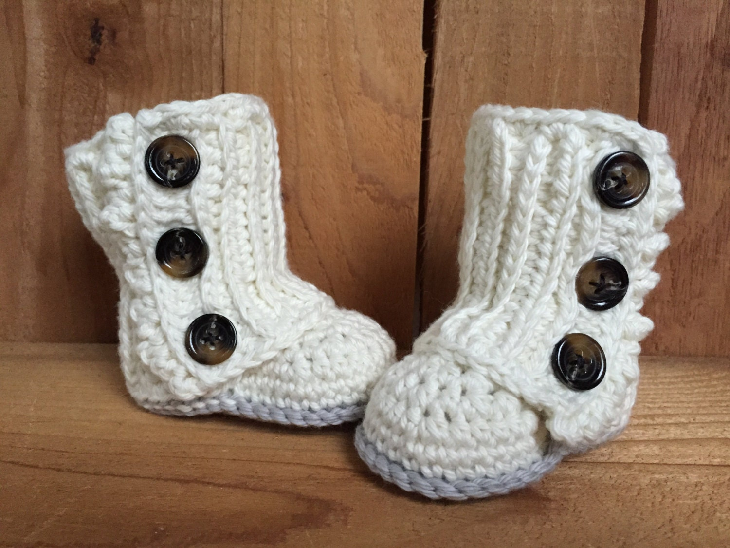 Crochet Wrap Around Button Baby Boots Pattern : Crocheted baby wrap boots baby boots baby wrap boots baby