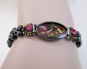 Vintage Red Magnetic Hematite Bracelet Abalone Jewelry Magnetic Healing Bracelet Beaded Energy Bracelet Mother Gift Grandmother Bracelet