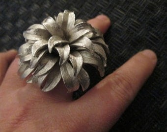 Silver Organic Shaped Ring // Vintage// Adjustable // Statement Piece// Made in Chicago // Gift for Her // Big// Unusual// Ecochic Ring