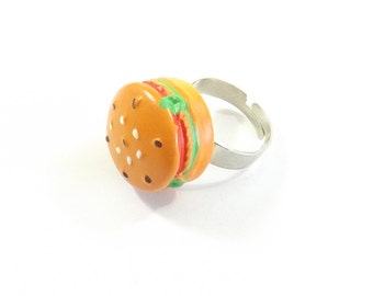 Hamburger Ring, Food Jewelry, Adjustable Ring, Kawaii Hamburger, Christmas Ring, Kawaii Food, Teen Jewelry, Christmas Jewelry