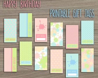 Paint Birthday Party Gift Tags, Paintball Party Printable Gift Labels, Art Party Favor Tags, Art Birthday Party, DIY Printable Gift Labels