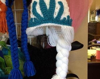 Disney Frozen Knit Hats, Choose for Elsa or Anna hat designs, Elsa Hat, Anna Hat, Inspired by Disney's Frozen