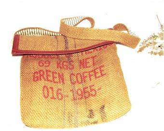 Vintage Style  Burlap Messenger/Computer Bag - Handmade in Yucatan