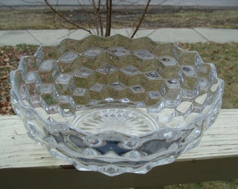 Beautiful Vintage Fostoria American Mid size Clear Cubist Crystal Glass Serving Bowl