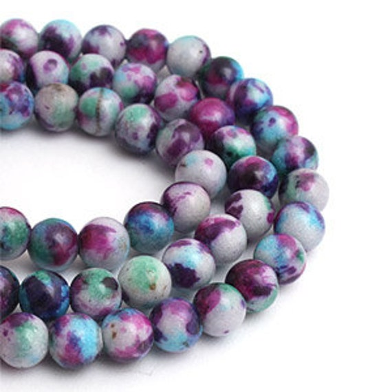 Items similar to 6mm Light Purple Mixed Colored Jade Stone ...