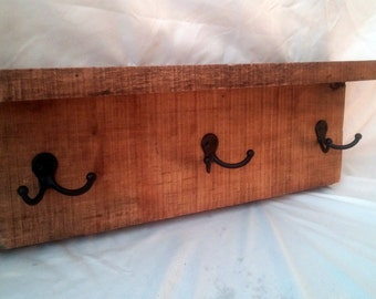 """24"""" Rustic Wall Mounted Shelf Coat rack with Natural Edge"""