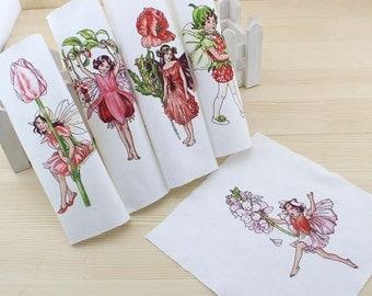 """Flower Fairies Print Paint 5 Assorted Cotton Canvas Quilt Fabric Square Scrap 6"""""""