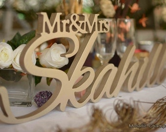 Mr and Mrs LAST NAME, Wedding Sign, Mr & Mrs Last Name Table Sign, Wedding Decor
