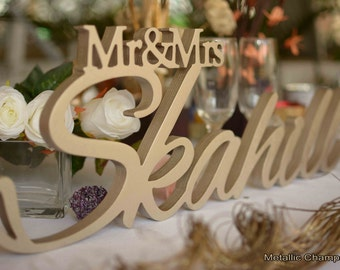 Mr and Mrs Last NAME sign for Wedding top table, Wedding Sign, Mr & Mrs Last Name Table Sign, Wedding Decor